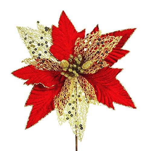 6 pcs Christmas Sparkling Gold Random Fiber Mesh and Red Velvet Artificial Poinsettia Flower Picks Christmas Tree…