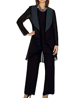 172dfb97b34 Women s 3 Pieces Elegant Chiffon Mother of Bride Dress Pant Suits Dress  Long Sleeves with Jacket