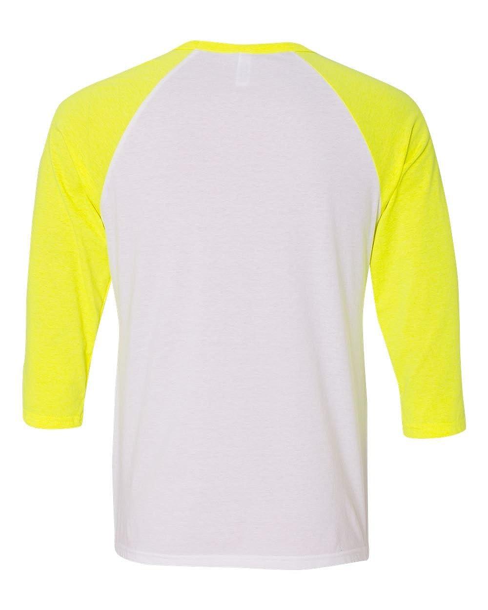 XL - Bella WHT//NEON Yellow Canvas Unisex 3//4-Sleeve Baseball T-Shirt Style # 3200 - Original Label