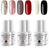 new black nail polish - Gellen New Pure & Glitters Gel Nail Polish Set - (Champagne Glitters, Peach Glitters, Coffee, Red, Black, White)