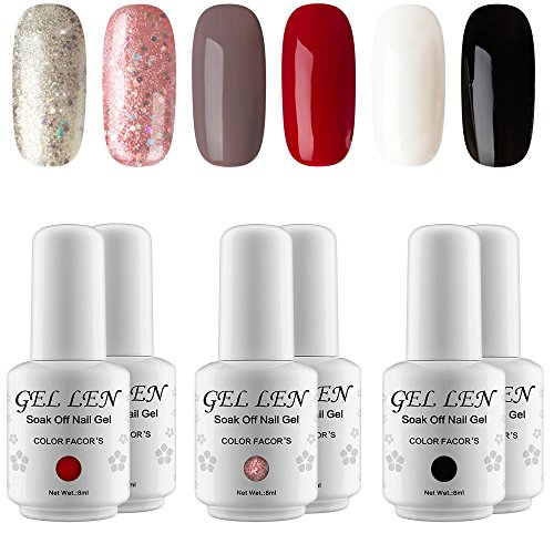 Gellen New Pure & Glitters Gel Nail Polish Set - (Champagne Glitters, Peach Glitters, Coffee, Red, Black, White)