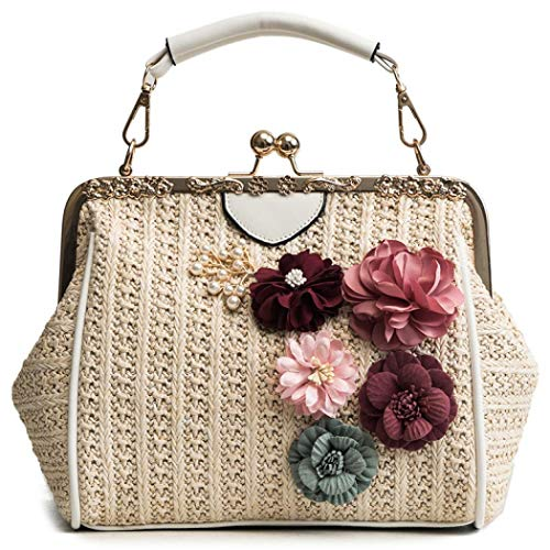 Puedo Exquisite Handmade Floral Straw Bag Beach Women Rattan Woven Shoulder Handbag Summer Crossbody Bag (Beige)