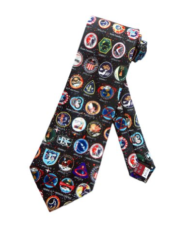 Museum Artifacts Mens NASA Space Mission Badges Necktie - Black - One Size Neck Tie (Nasa Space Museum)