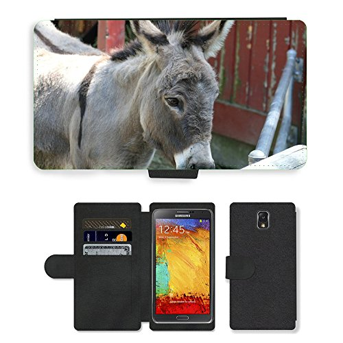 Hot Style Cell Phone Card Slot PU Leather Wallet Case // M00130832 Donkey Burro Mule Jackass Ass // Samsung Galaxy Note 3 III N9000 N9002 (Jackass Note)