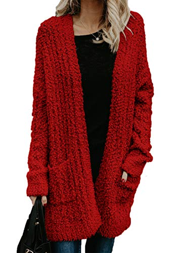 (HZSONNE Womens' Boho Fuzzy Knitted Cardigan Chunky Sweater Sherpa Fleece Pointelle Full Sleeve Blouse (Red,)