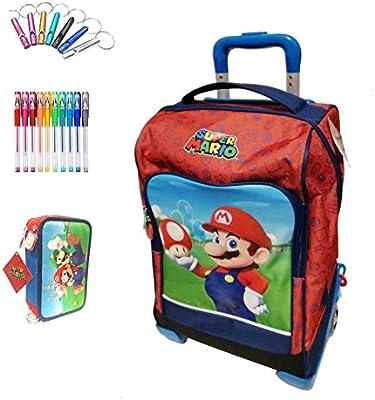 Mochila escolar Trolley Super Mario con seta Versión Deluxe Viaje + Estuche 3 pisos completo + Silbato de regalo + Bolígrafo de colores: Amazon.es: Deportes y aire libre