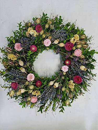 (The Gathering Garden Wildflower and Lavender Wreath. 22 inch Dried Flower Wreath. Wonderful Easter, Spring, Summer and Fall Harvest Wreath)