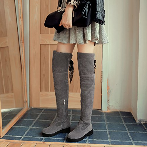 High Lace Grey Boots Thigh Foldable Women High Winter Elegant Boots BIGTREE Faux Casual Suede Knee q7wznZ