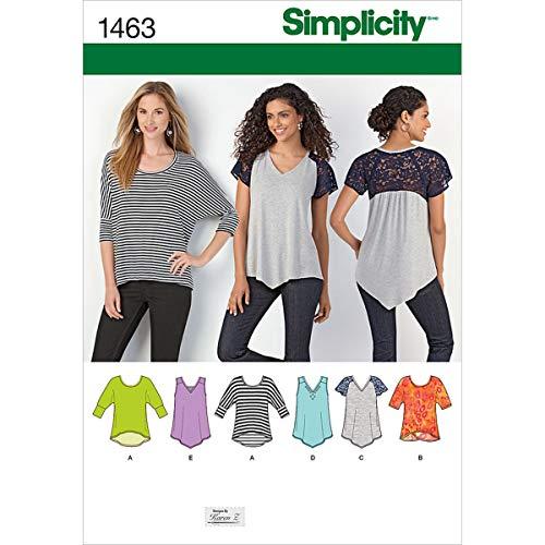 Simplicity 1463 Women's Knit Top Sewing Patterns by Karen Z, Sizes XXS-XXL