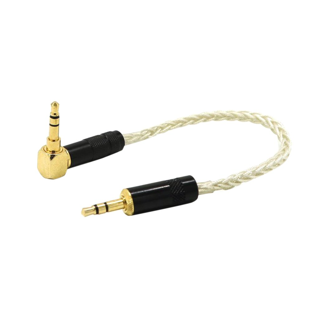 Homyl 0.2meter 3.5mm 90 degree Male to Male Universal Aux Audio Stereo Cable for Smartphones, Tablets and MP3 Player - white