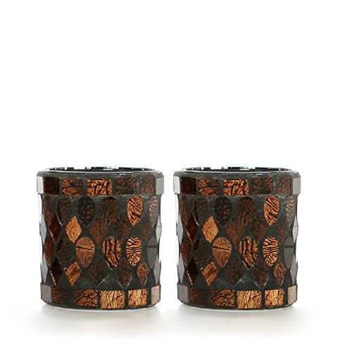 Hosley's Set of 2 Mosaic Glass Tealight Holder- 3