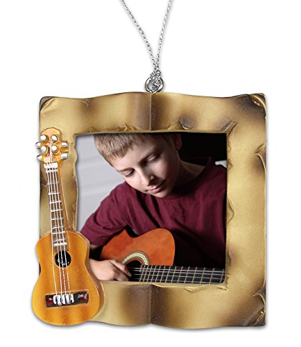 BANBERRY DESIGNS Guitar Christmas Ornament - Picture Ornament for a Guitar Player - Acoustic Guitar Frame -