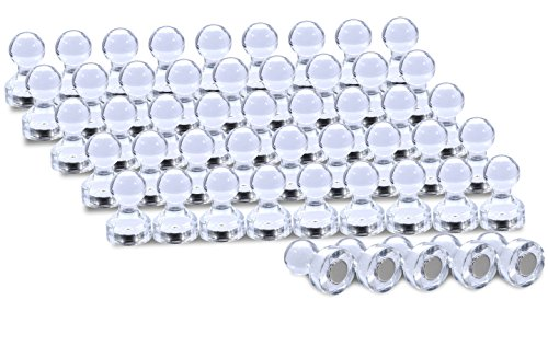 Magnetic-Push-Pins-Clear-Acrylic-Thumb-Tack-Button-Magnet-Set-for-Fridge-Maps-Calendars-Whiteboard-50-Pieces