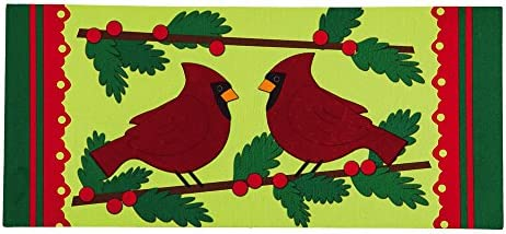 Evergreen Winter Cardinal Decorative Mat Insert, 10 x 22 inches