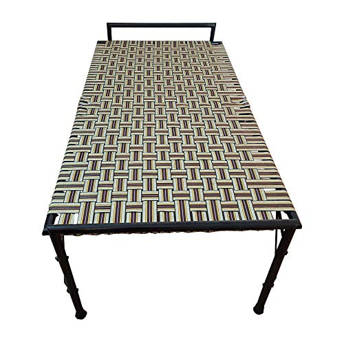 AARAM CHARPAI UDYOG Niwar Folding Bed Single Size (36 X 72 Inch) | Portable Bed (Single, Round Pipe Model)
