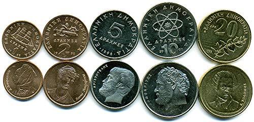 Greece 5 Coins Set 1988-2000 Drachmas UNC Collectible Coins to Your Coins Album, Coin Holders OR Coin Collection