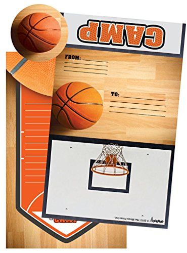 iscream Basketball Camp Pack of 8 Fold-over Cards with Flip Sticker Seals
