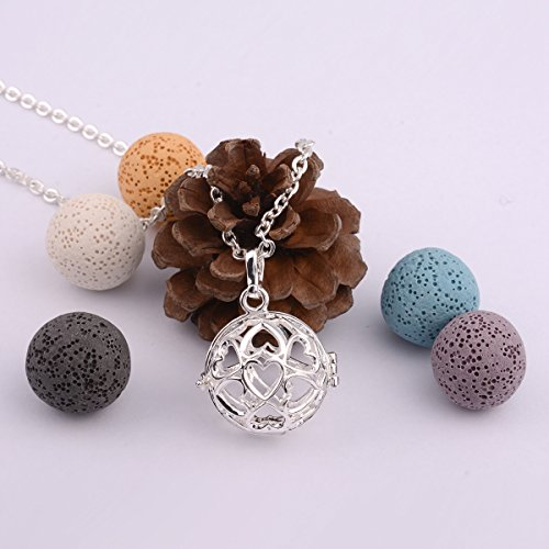 EUDORA Fashion Volcanic Rock Beads Locket Pendant Essential Oil Diffuser Necklace fit for Youngliving by EUDORA (Image #2)