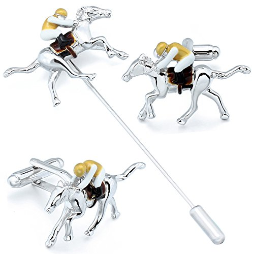HAWSON Racing Horse Cufflinks and Lapel Pin Set - Novelty Wedding Gifts for Men