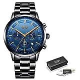 JC-LIGE Reloj Deportivo Casual para Hombre, Resistente al Agua, Reloj Militar, Reloj de Lujo, Black Rose Blue