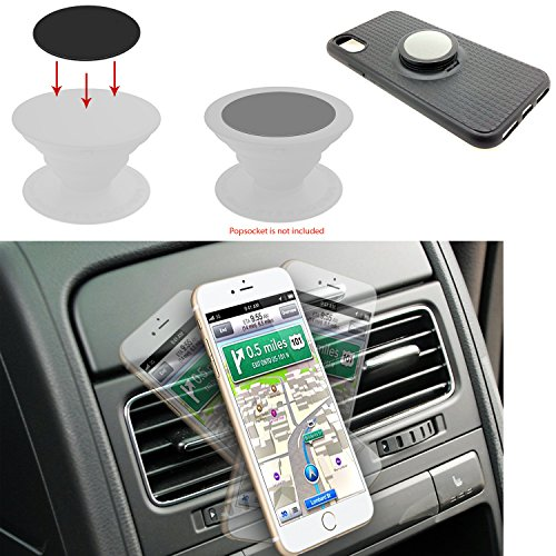 AccessoryBasics Super Strong Magnetic Air Vent Car Mount Holder for Apple iPhone 8 7 6s Plus X Samsung Galaxy S9 S8 Edge Smartphones (POP Holder SOCKETS COMPATIBLE METAL PLATE INCLUDED)