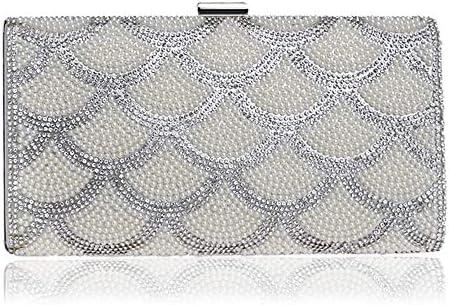 パールイブニングバッグ、レディースドレスイブニングクラッチ、3色、22 * 11.5 * 5 Cm 美しいファッション (Color : White)