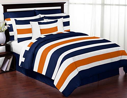 Sweet Jojo Designs 4-Piece Navy Blue, Orange and White Stripe Childrens, Teen Boys Twin Bedding Set Collection