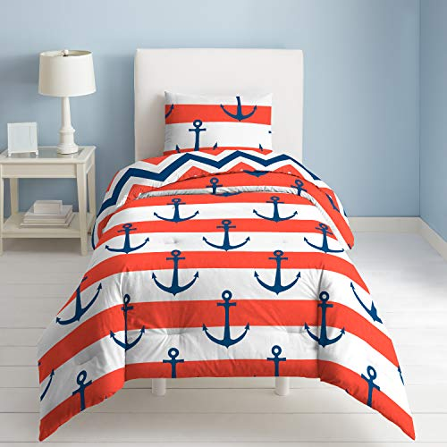 Dream Factory Sail Away Comforter Set, Twin, Red