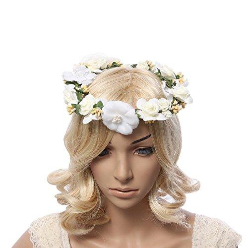 Flower Wreath Headband Floral Crown Garland Halo Wrist Band Set for Wedding Festivals