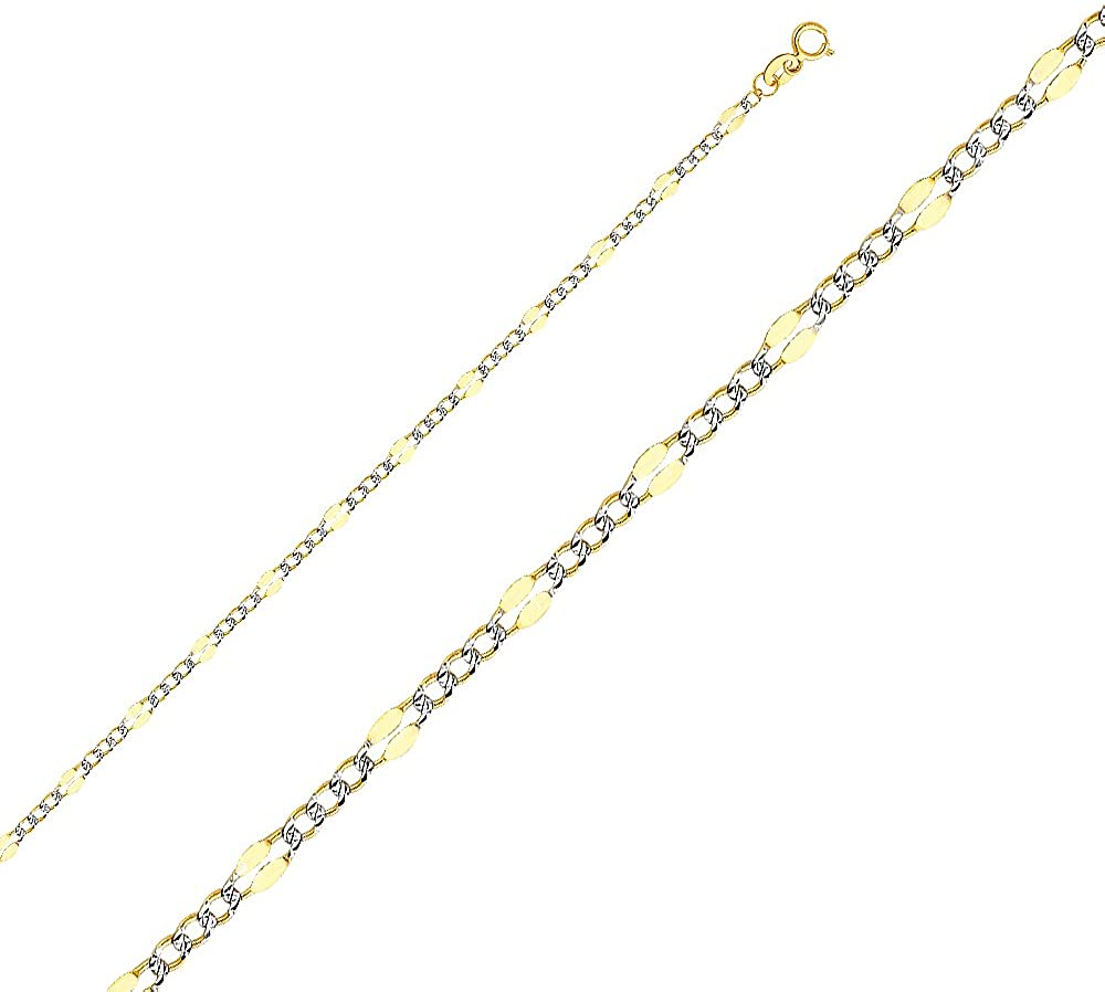 Jewels By Lux 14K White and Yellow Gold Two Tone Figaro White Pave Chain Necklace With Lobster Claw Clasp
