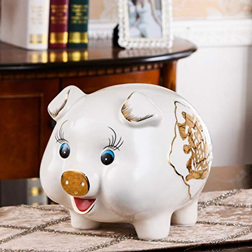 (GE&YOBBY Ceramic Piggy Bank,European Style Porcelain Decor Handmade Gold Painting Money Box for Home Decor Gift-b 27x24cm(11x9inch))