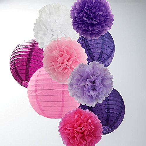 16 PCS 8 Inch10 Inch Lavender Purple Pink White Tissue Paper Pom Pom Flowers and Paper Lanterns for Party Decorations