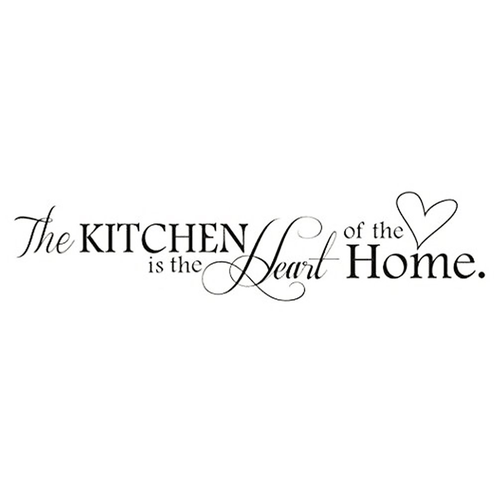 Adesivi Murali Frasi The Kitchen Is The Heart of The Home Stickers Muri Fai da Te per Cucina Decorazione Parete CDKJ