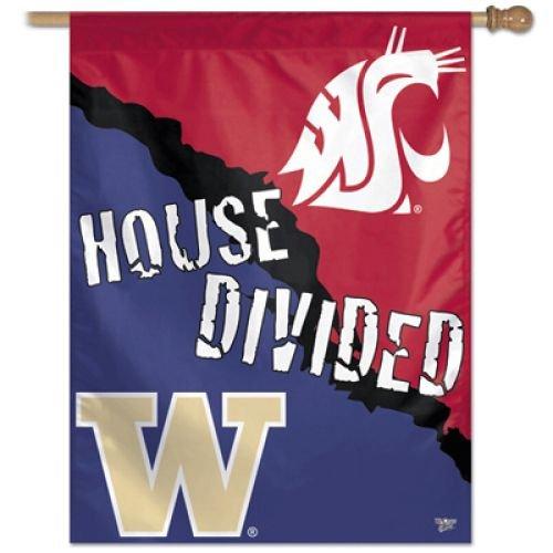 Washington Huskies/Washington State Cougars Rivalry A House Divided Banner Vertical Flag 27
