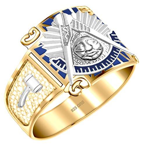 US Jewels And Gems Customizable Men's Two Tone Vermeil Past Master Freemason Masonic Ring (Size 10)