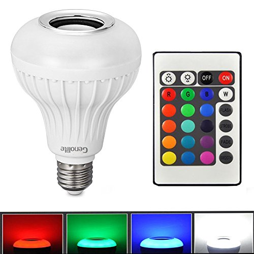 Genolite Wireless Speaker bulb light 12W Power LED RGBW Color Lights Bluetooth Control Audio Lamps Music Playing IR Remote by Genolite