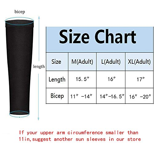 JueDi Sun Sleeves Cool Ice Long Large Arm Sleeves Uv Protection for Youth&Adult Men&Women Outdoor Sports Golf Cycling Driving Gardening Fishing Running SPF50+ 1Pair Black XL by JueDi (Image #4)