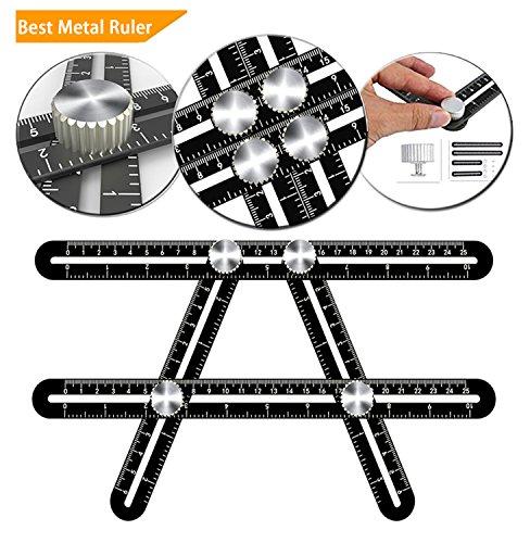 Lncropo RR-12-20-1 Multi Angle Measuring Ruler Universal Ruler Ultimate Template Tool Ruler Upgraded Aluminum Alloy Multi Function Ruler (Black)