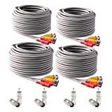 IHOMEGUARD 4 PACK Pre-made All-in-One 60 Ft BNC Video and Power Cable Wire Cord with Female Connector Gray Coaxial Cable Extension Wire Cord for DVR CCTV Security Camera Surveillance System