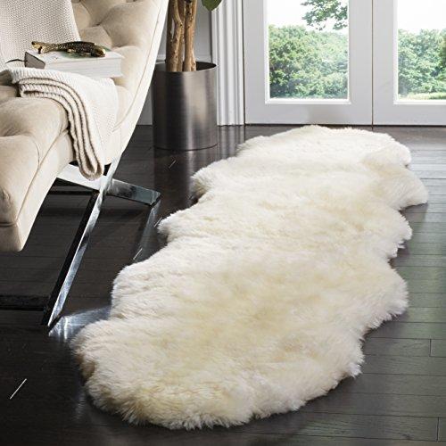 Safavieh Sheepskin Collection SHS211A Genuine Sheepskin Pelt Handmade White Premium Shag Runner (2' x 8')