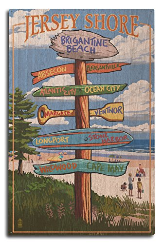 Lantern Press Brigantine Beach, New Jersey - Destinations Signpost (10x15 Wood Wall Sign, Wall Decor Ready to Hang)