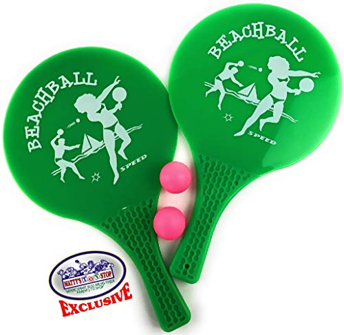 Matty's Toy Stop Waterproof Plastic Paddle Ball Game Set with 2 Paddles (Green) & 2 Solid Rubber Balls (Pink)