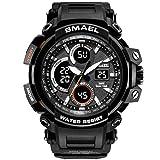 Winsummer Men's Sports Analog LED Digital Wrist Watch Dual Quartz Military Army Sport Watch Water Resistant Black