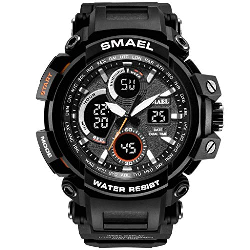 Winsummer Men's Sports Analog LED Digital Wrist Watch Dual Quartz Military Army Sport Watch Water Resistant Black by Winsummer (Image #5)