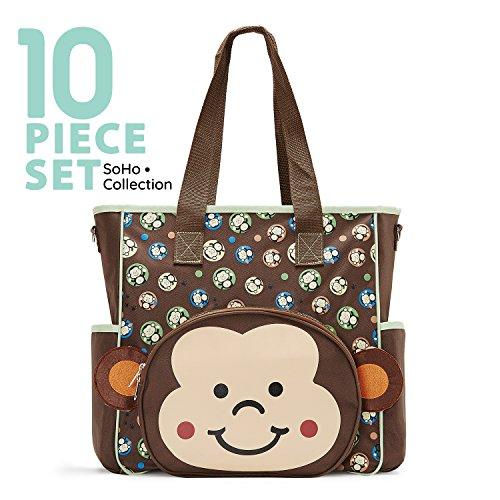 SoHo diaper bag Franky Monkey 10 pieces nappy tote travel ba