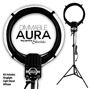 AURA DIMMABLE Ring Light Kit by Silverlake - Large 19 inch Professional Quality - 5400K - 500W Continuous Fluorescent RingLight that produces shadowless lighting for people Vlogging or products