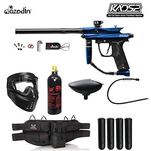 MAddog Azodin KAOS 2 Silver Paintball Gun Package - Blue/Black (Paintball Gun Double Barrel)