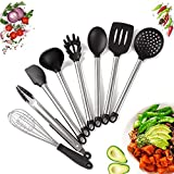 Kitchen Utensil set - 8 Piece Cooking Utensils for nonstick cookware -Made Of Silicone and Stainless Steel -Includes Spoon, Egg Whisk, Serving Tong, Spatula Tools, Pasta Server, Ladle, Strainer
