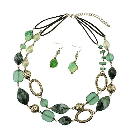 Bocar 2 Strand Statement Choker Shell Necklace and Earring Set for Women Gift (NK-10370-green)
