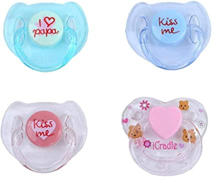 Little Cute Toys 4PC New Dummy Pacifier for Reborn Baby Dolls with Internal Magnetic Accessories 【Ship from USA 】